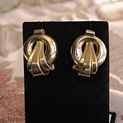 1940-1950s, Vintage 14k Retro Gold Earrings.  Large and Heavy!