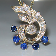 Vintage 14k Yellow Gold, Old-European cut Diamond, and Sapphire Pendant.  2 carats plus.