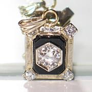 Gorgeous ART DECO Diamond Onyx Platinum and Yellow Gold Pendant.