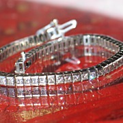 Princess-cut Diamond Bracelet.  14k White Gold Tennis Bracelet.