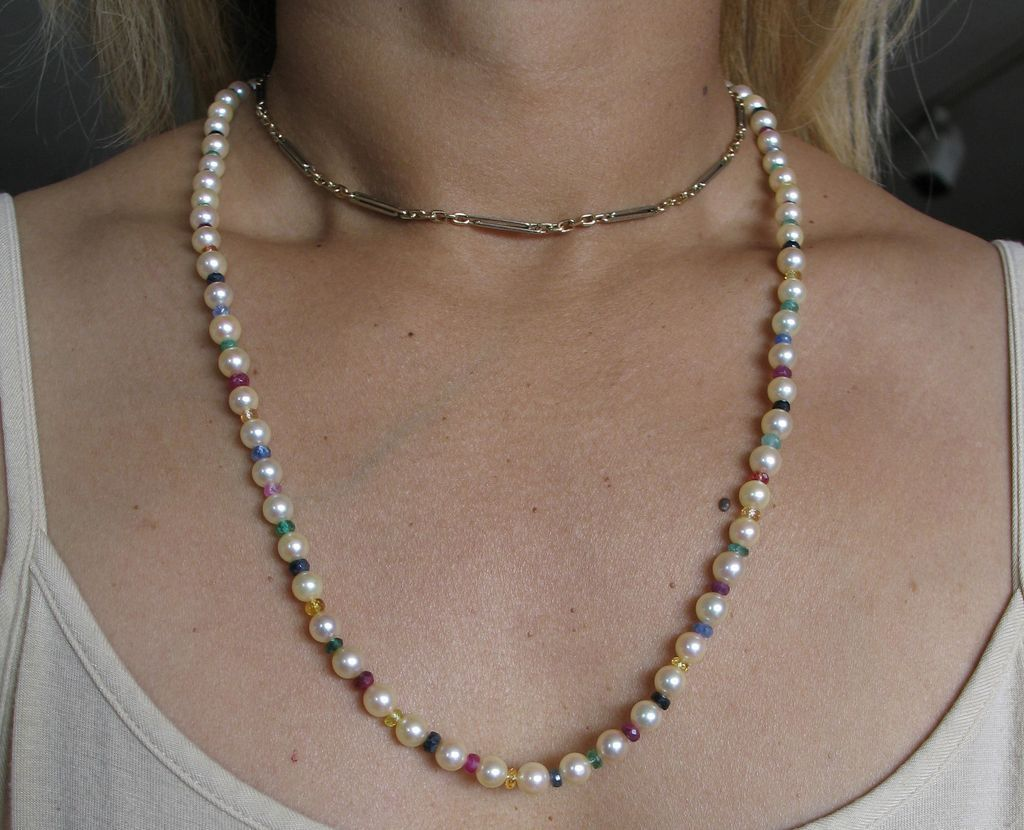 Vintage Cultured Pearl And Multi Colored Precious Gem