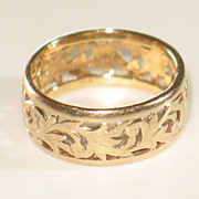 MING'S 14k Yellow Gold Band/Ring.  Wide Vintage Gold Band. - Red Tag Sale Item