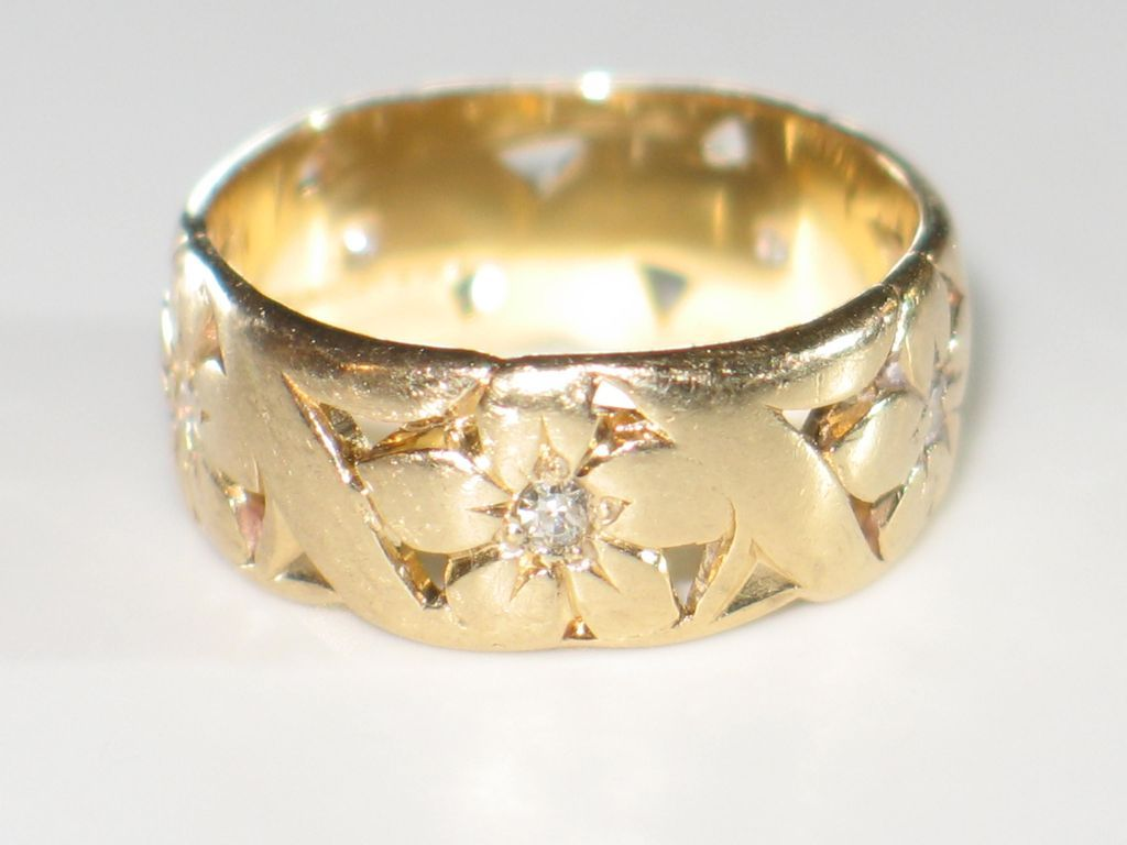 sold wide gold diamonds and artcarved wedding ruby yellow lane with item bands band vintage