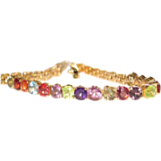 GORGEOUS! Vintage 18k gold Multi Gemstone Bracelet.