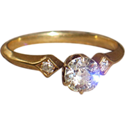Antique Old European cut Diamonds and 18k Yellow Gold Engagement Ring.