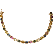 Multicolor Natural Sapphire and 14k Yellow Gold Bracelet.  17.5 carats.