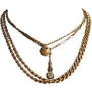 "Italian Rope Chain, Vintage 18k yellow gold rope chain.  35.25"" inches long."