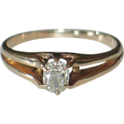 Rose Gold OEC Diamond Solitaire Ring.  Antique Engagement Ring.