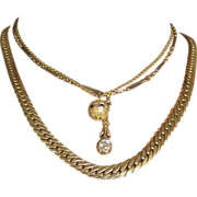 Omega style Necklace in 14k Yellow Gold.  Vintage Italian Necklace/Chain.