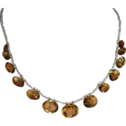 Antique Natural seed pearl and citrine necklace, 9ct.