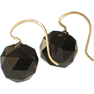 Antique Faceted Jet Earrings in 14k Yellow Gold.  Pierced and dangle.