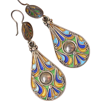 Exquisite vintage Sterling silver enamel earrings.  HEAVY!