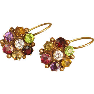 Antique Georgian Multicolor gemstone flower earrings.