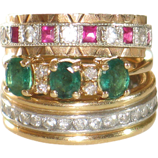 Three stone emerald and diamond ring.  Vintage 14k yellow gold ring.