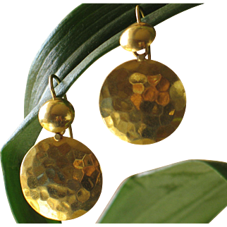 Vintage 18k yellow gold-disc pierced earrings.