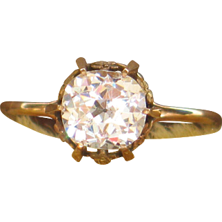 Antique paste solitaire ring in 14k gold.