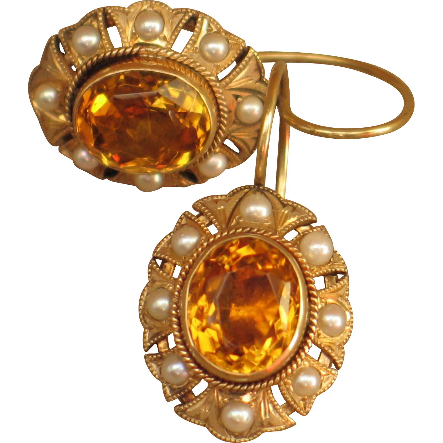 Antique Earrings With Natural Seed Pearls And Topaz 14k