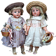"""Heubach Pouty Characters with Glass Eyes as Sisters~ 9.5"""""""
