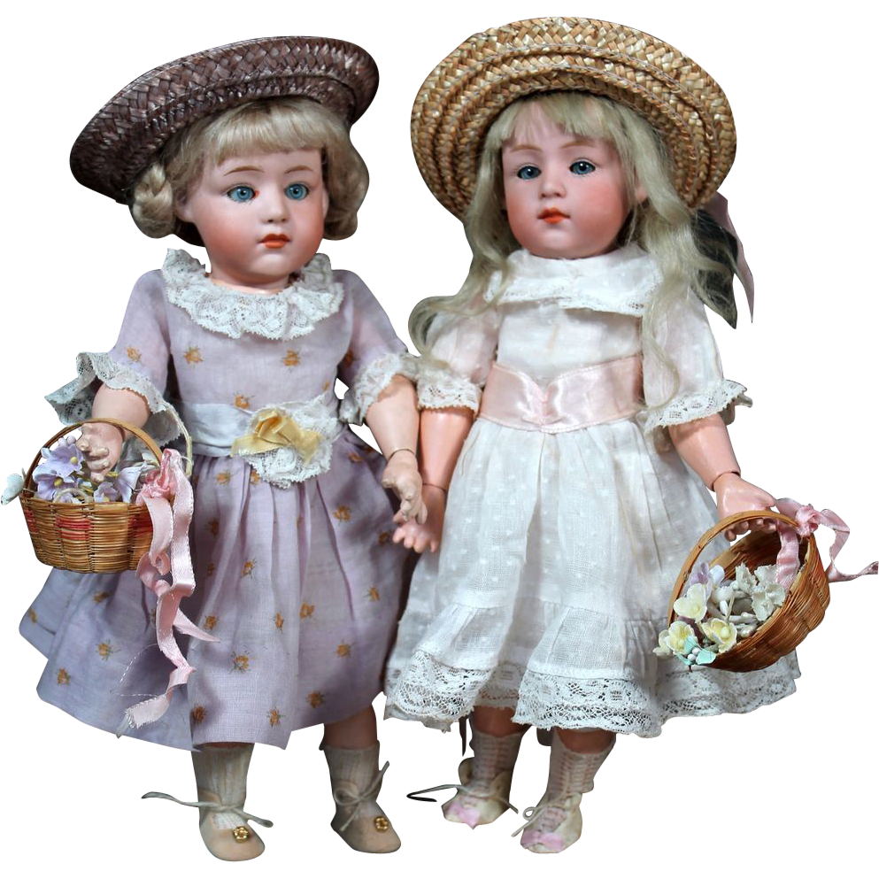 Heubach Pouty Characters with Glass Eyes as Sisters~ 9.5""