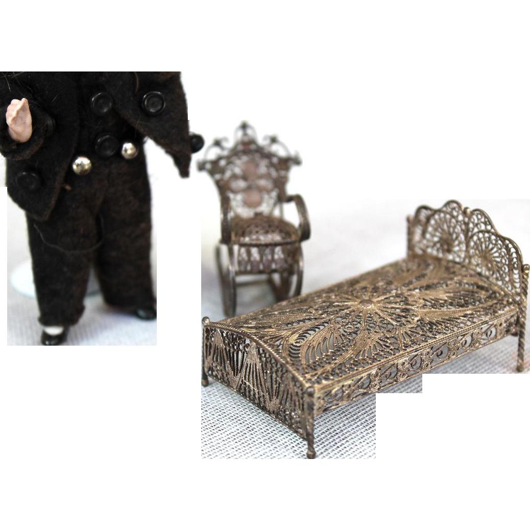 Antique Filigree Soft Metal Doll House furniture
