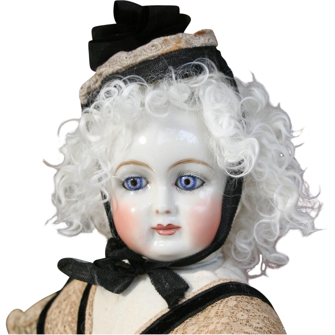 Lambskin Wig with Long Tendrils ~ Platinum