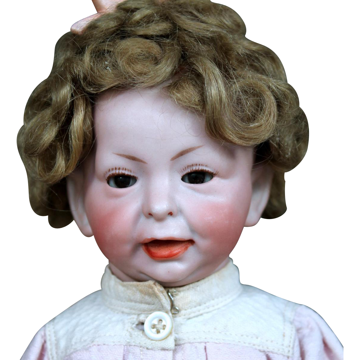 "Rare 11"" K*R 100 Character Toddler with Glass Eyes, Wig"