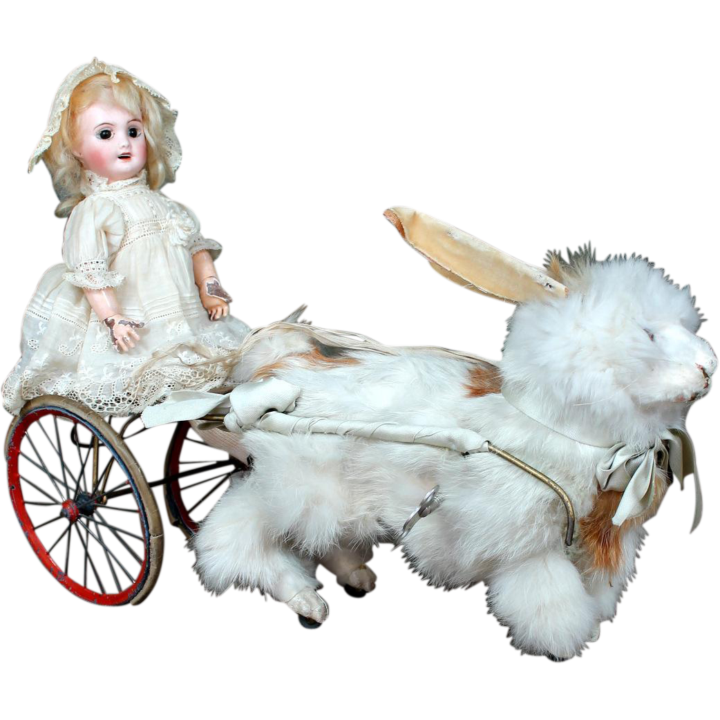 French Bisque Doll  Riding Key Wind Mechanical Fur Rabbit, All Original