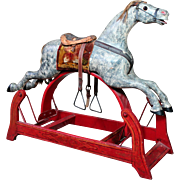 1890's Carved Wooden Rocking Horse Glider, SUPERB!