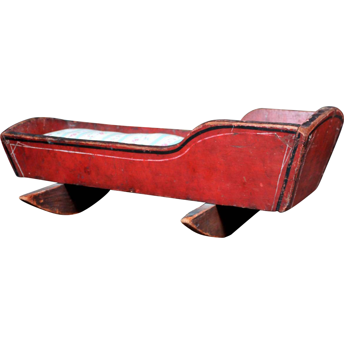 1860's Red Painted Wood Doll Cradle with Original Ticking Mattress