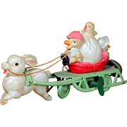 Occupied Japan Easter Rabbit Pulling Chick Basket Celluloid Key Wind Toy