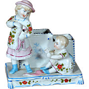 Victorian China Figural Vase Trinket ~ Girl with Doll and Baby