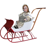 Antique Victorian Child's Push Sleigh ~ Museum Deaccession