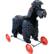 1930's Steiff Poodle on Wheels