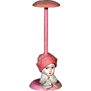 Antique German Papier Mache Doll Head Pink Hat Stand