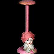 Antique German Papier Mache Doll Head Pink Hat Stand