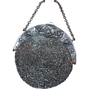 Antique Art Nouveau Round Silver Metal Bead Purse