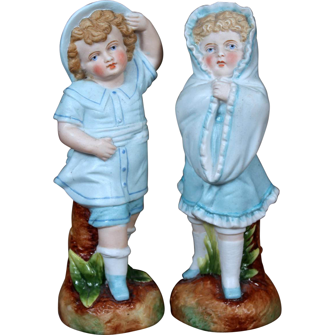 Antique German Bisque Figurine Pair Children