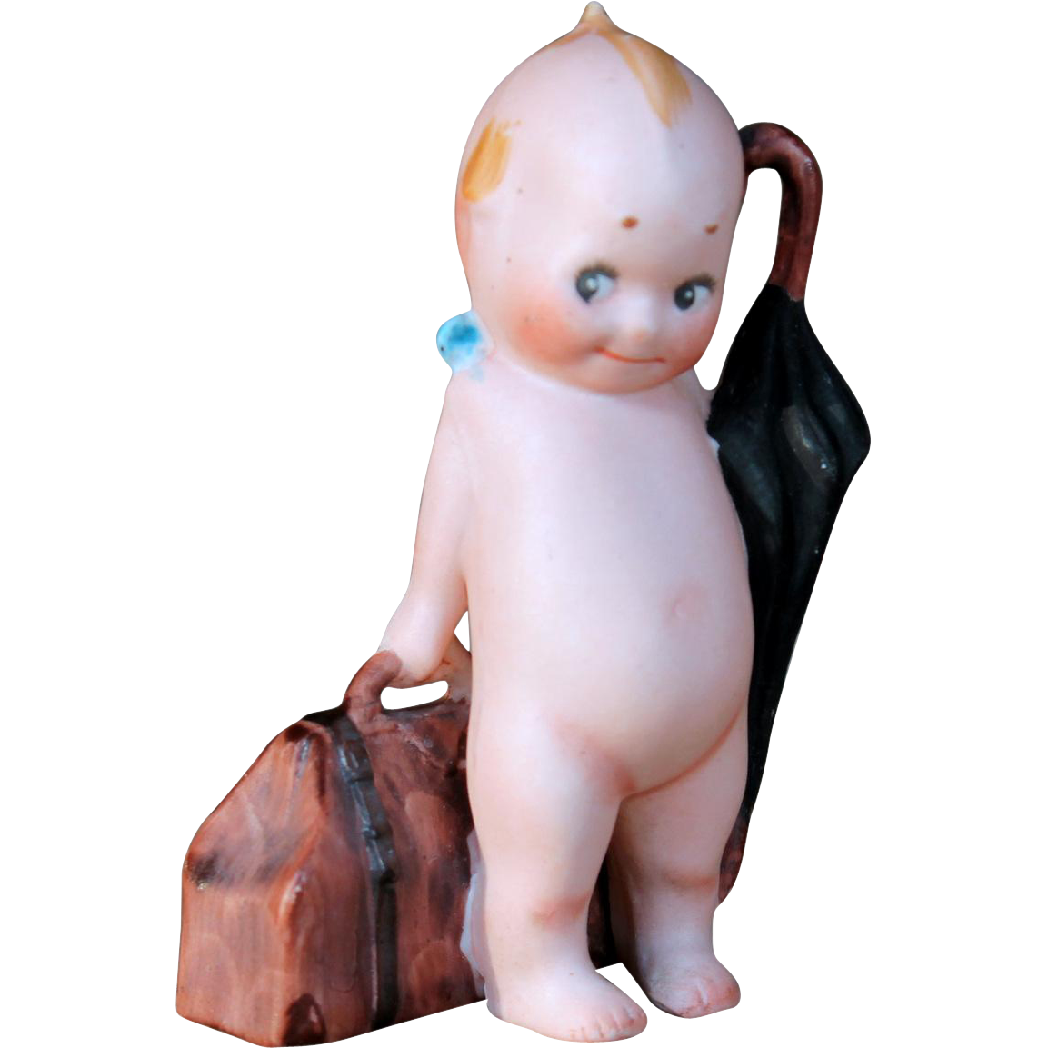 Kewpie Traveler with Umbrella, Suitcase by Rose O'Neil, 3.5""