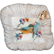 Victorian Silk Embroidered Pillow with Love Birds