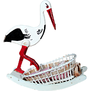 Wooden Stork with Wicker Bassinet for Baby