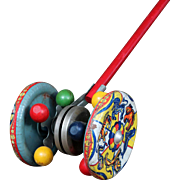 Vintage Push Tin Toy, Circus-Themed with Bells