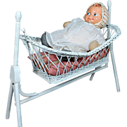 White Painted Swinging Wicker Doll Cradle with Original Pillow Mattress