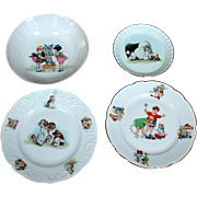 Four Child's Plates with Children and Dogs, Germany