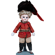 "4.5"" All-Bisque Mignonette in Original Soldier uniform, Original Wig"