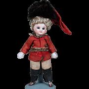 "4.5"" All-Bisque Mignonette in Original Soldier uniform, Original Wig"