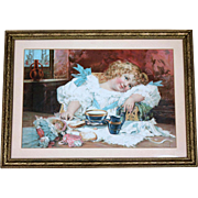 Antique Framed Lithograph of Girl with Dolls