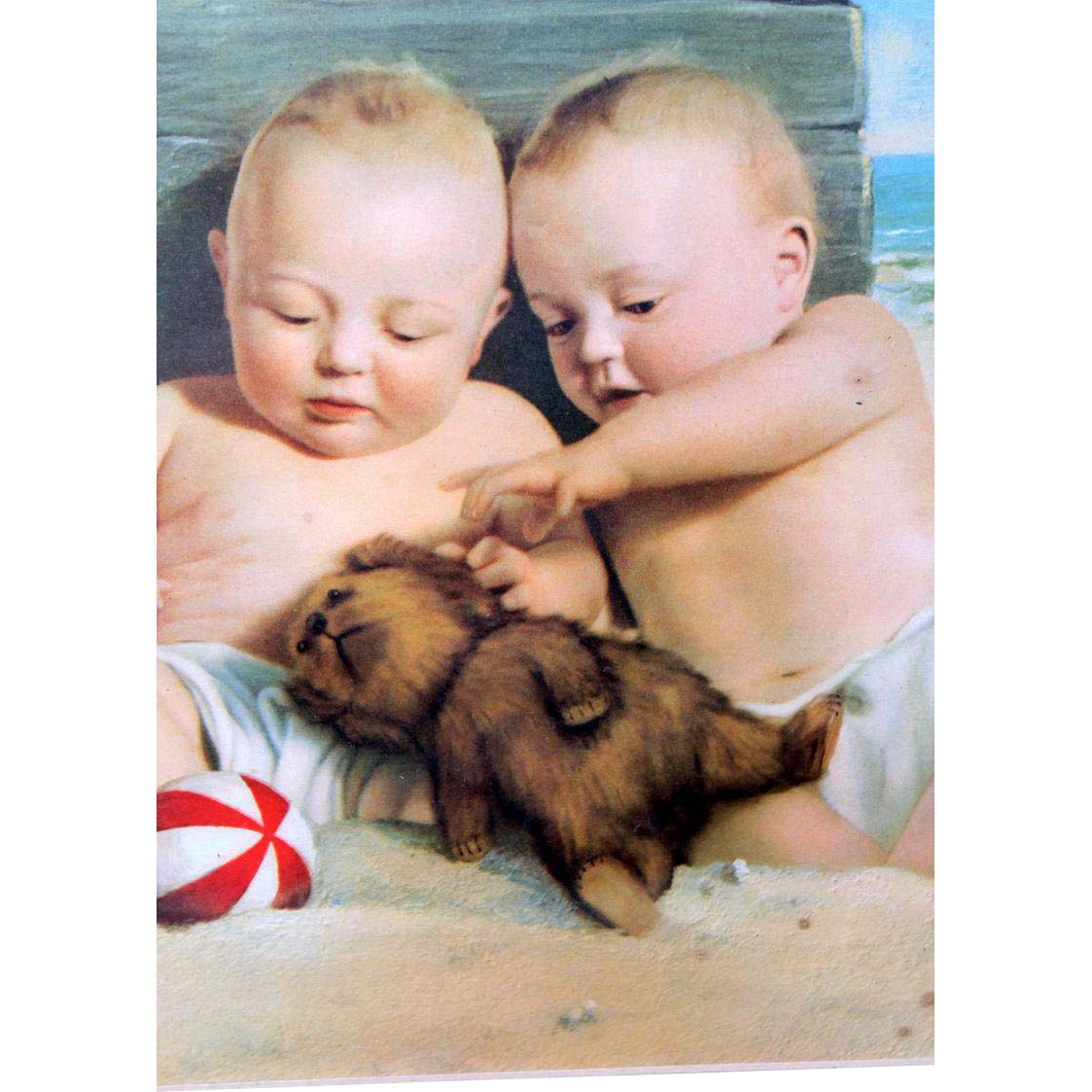 Framed, Matted and Signed Litho of Seaside babies with Stuffed Dog