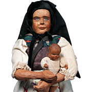 Swiss Carved Wooden Mother & Child by Huggler