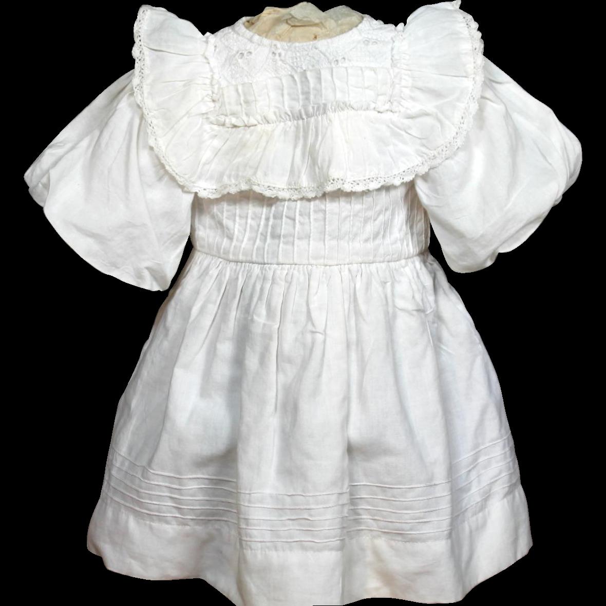 Authentic Antique Factory Cotton/Lace Doll Dress