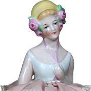 German Porcelain Half doll with Molded Flowers on Pin Cushion